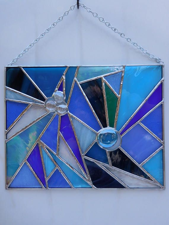 Stained Glass Panel-Handmade-Home Decor-Unique Gift-House Warming