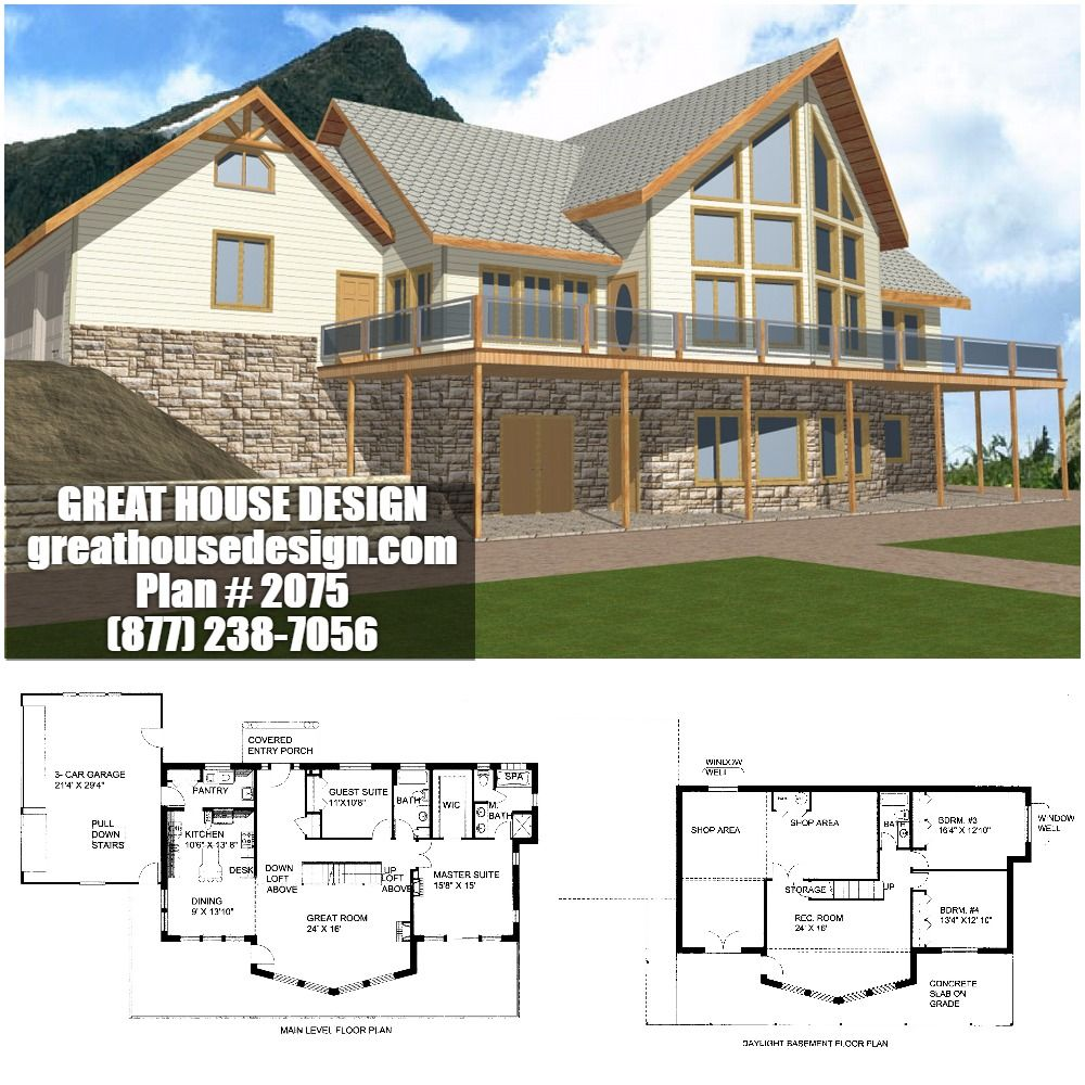 Waterfront ICF House Plan # 2075 Toll Free: (877) 238-7056 ... on ranch house plans with angled garage, icf basement home plans, icf ranch home plans,