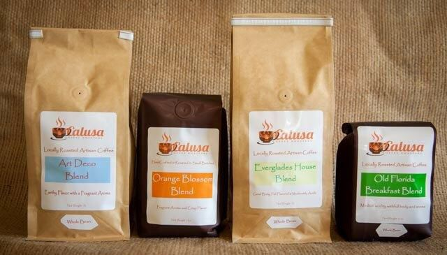 A sample list of the unique Florida coffee blends at Calusa Coffee - sample list