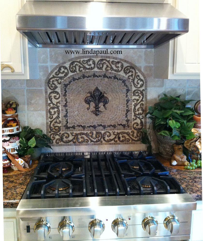 Custom Kitchen Backsplash Design With Fleur De Lisill Have This