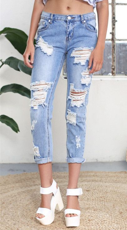 f8a278632144bc Aliexpress.com : Buy Plus size Ripped Boyfriend Jeans Women Baggy  Distressed Jeans with Hole Loose Denim Pants from Reliable jean shorts for  men suppliers ...