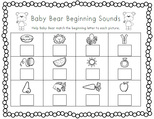 Goldilocks And The Three Bears Goldilocks And The Three Bears Beginning Sounds Worksheets Fairy Tales Preschool