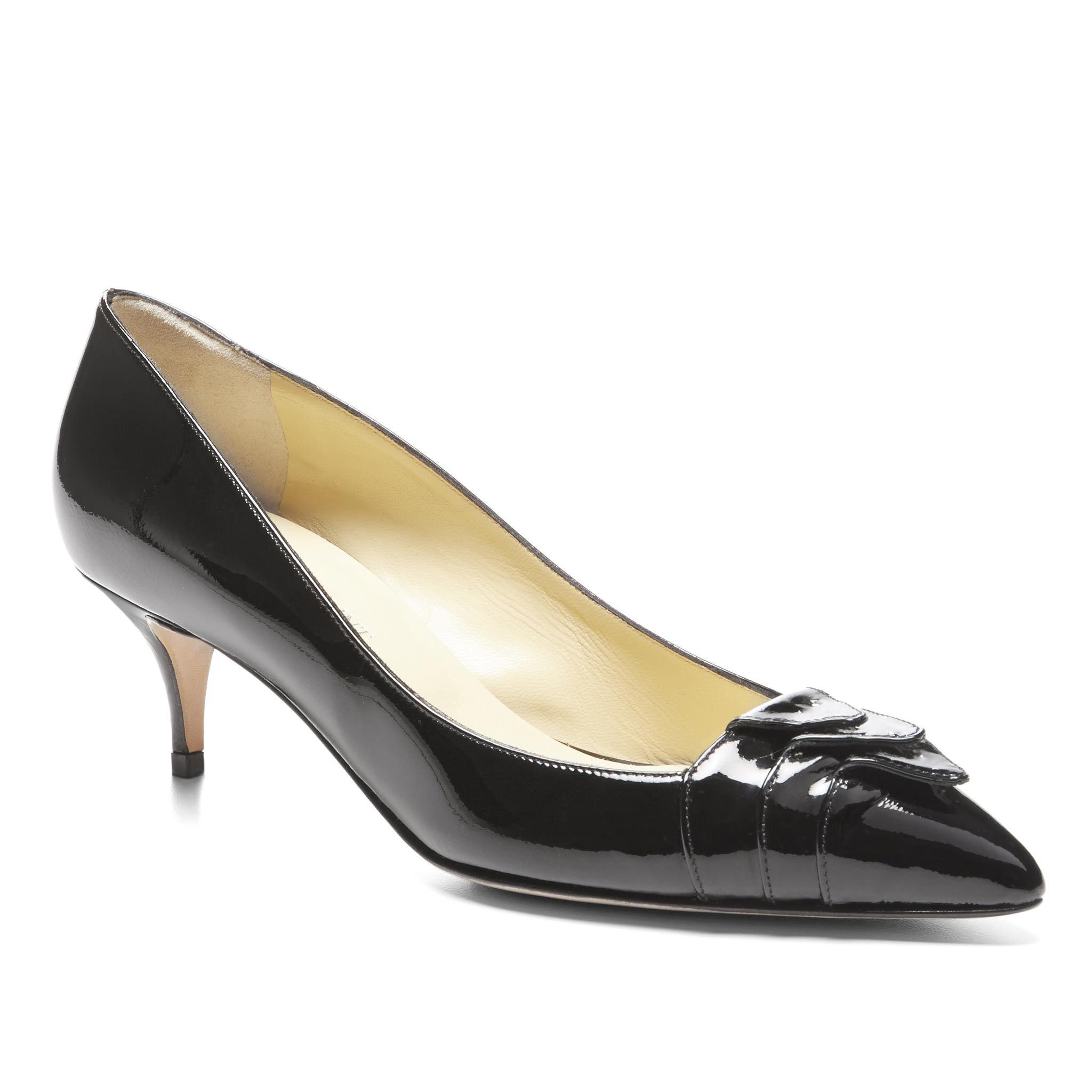 Carlotta in Black Patent Shoes, Kitten heels, Black patent