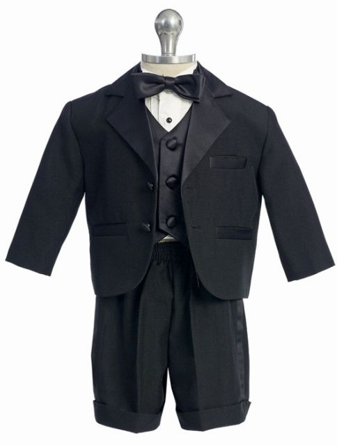 5pc Formal Wedding Baby Kid Boy Black Double Breasted Suit Tuxedo S M L XL 5 6 7