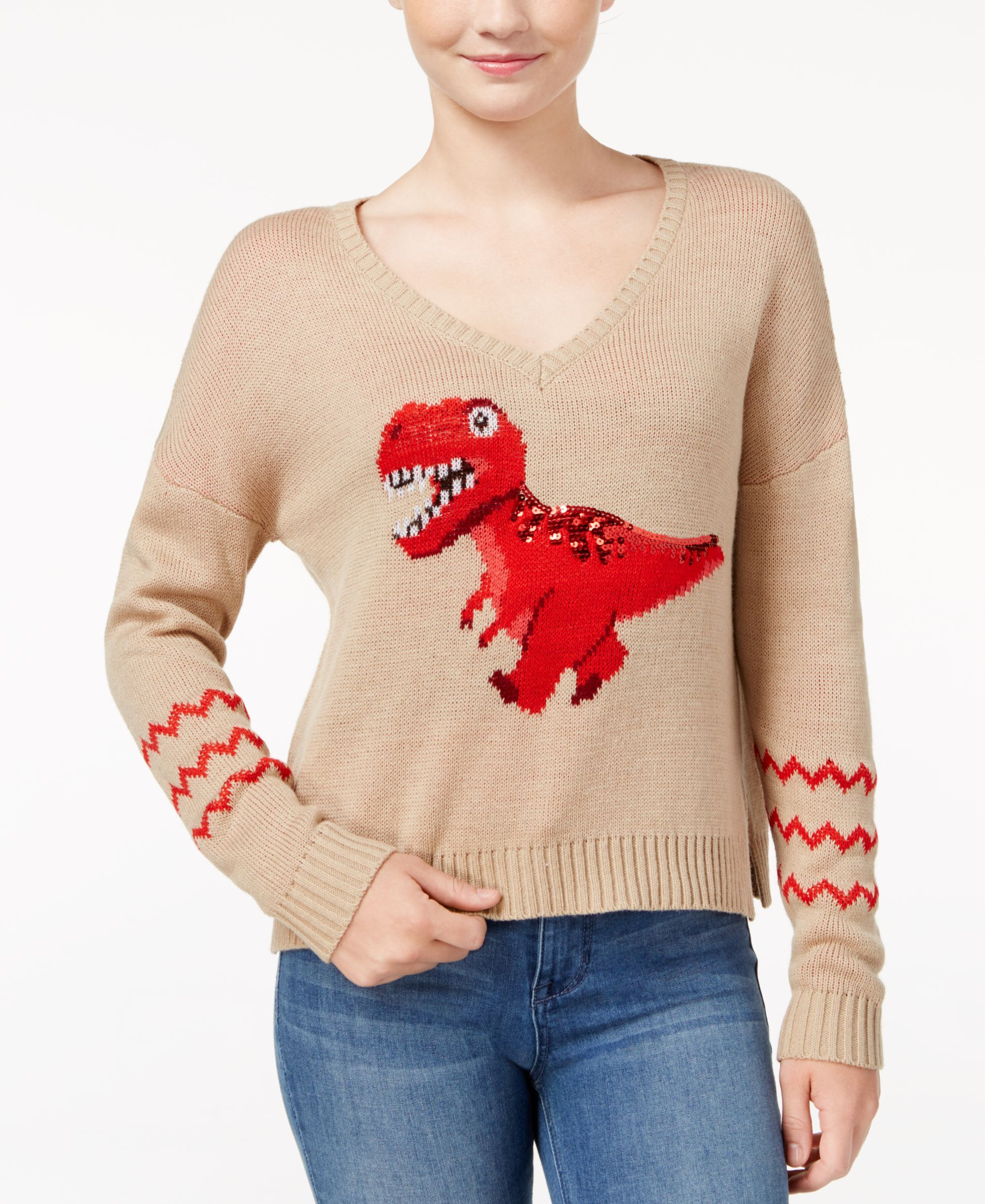 Almost Famous Juniors' Sequin T-Rex Graphic Sweater | Products ...