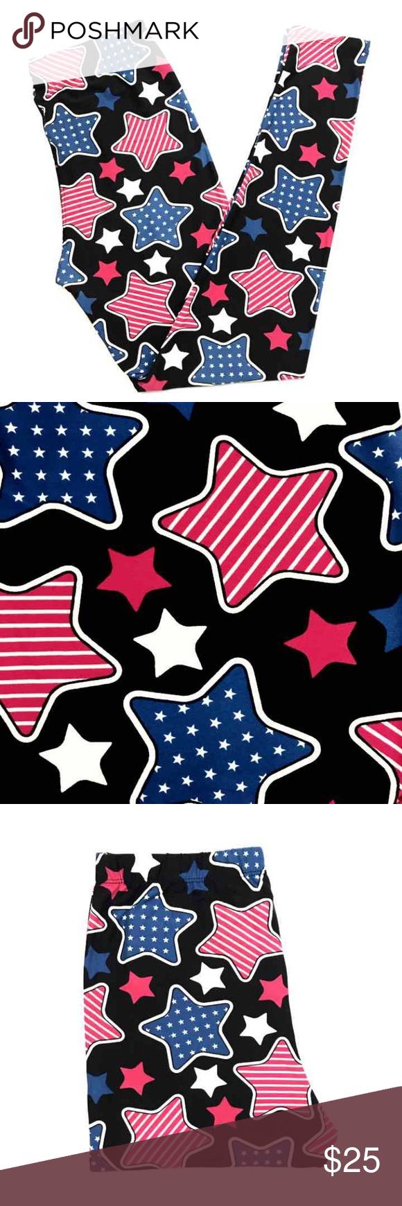 Buttery Soft USA Flag Americana Star Leggings OS One Size Pants Leggings