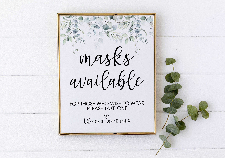 Masks Available Sign Mask Sign Wedding Mask Sign Mask Sign