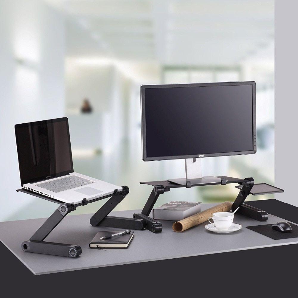 Adjustable Aluminum Laptop Desk Ergonomic Portable With Mouse Pad