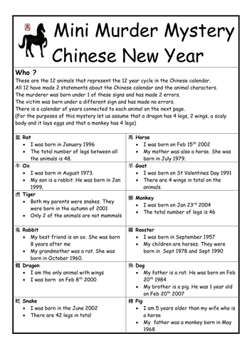 chinese new year mini murder mystery - Chinese New Year 1979
