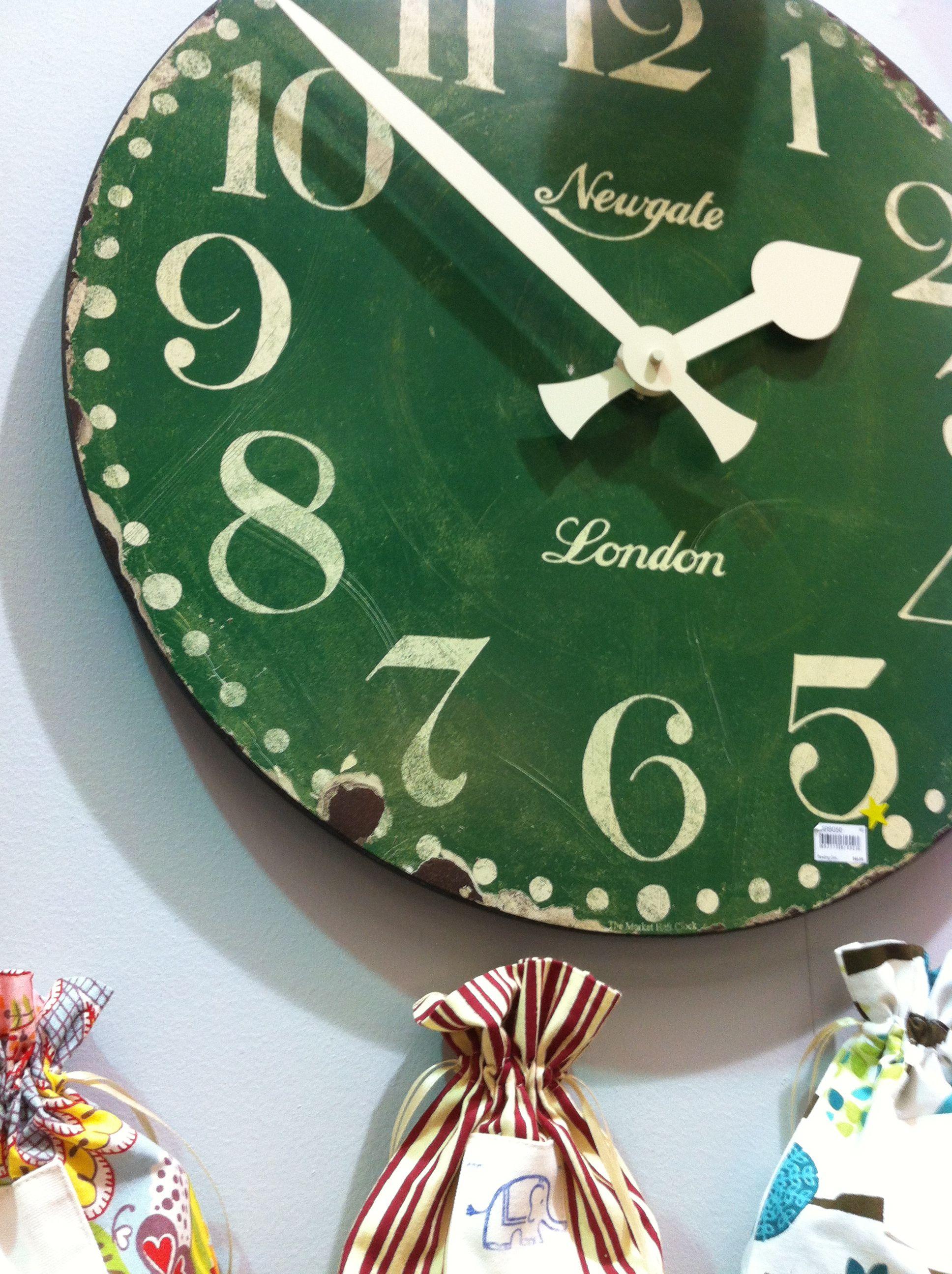 Large face green clock