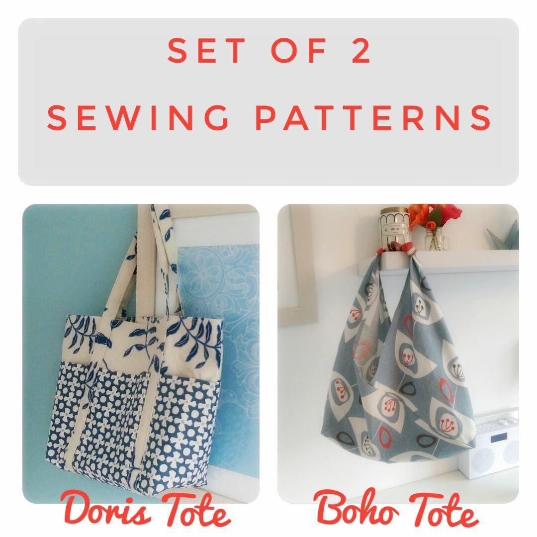 Set of 2 Tote Bag sewing patterns Doris & Boho Origami. Perfect for ...