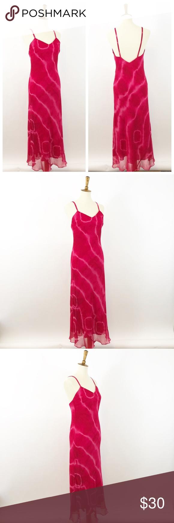 Vtg Fuschia Pink Tie Dye Low Back Maxi Dress Med Pink Tie Dye Dresses Maxi Dress [ 1740 x 580 Pixel ]