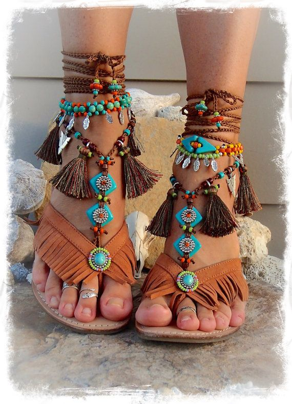 Neon Feather Charm Ankle Bracelet Ceramic Beaded Tribal