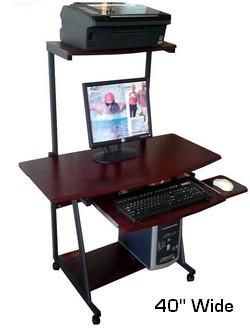 S40 40 Wide Mobile Computer Desk With Hutch Printer Shelf Free Shipping Oceanpointe Distributors Corporation