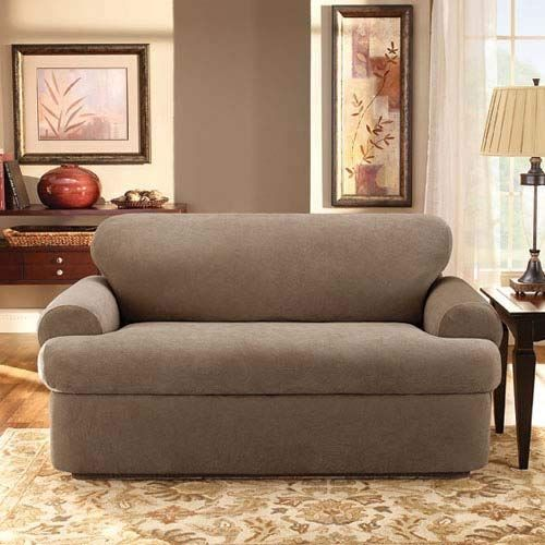 Sure Fit Stretch Pique 3 Piece Sofa Slipcover Taupe Sf37943