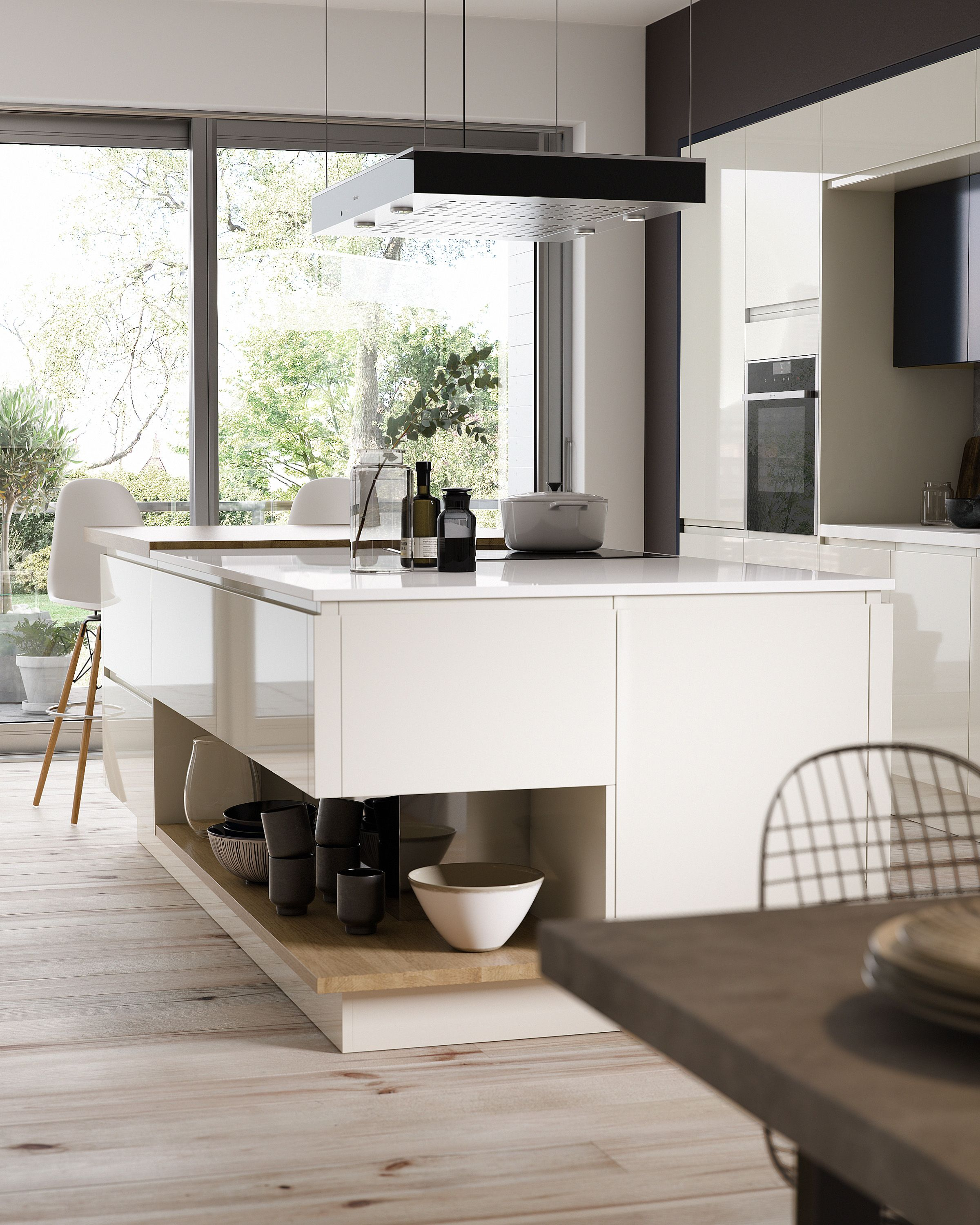 Contemporary kitchen with white gloss curved island with handleless ...