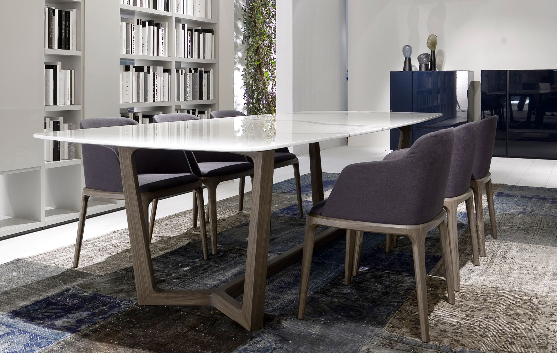 Luxury marble dining table - Stylish White Marble Dining Table And Dark Purple Upholstered Chairs With Gray Oak Pedestal Legs Contemporary Style As Well As Dining Table Ideas Plus