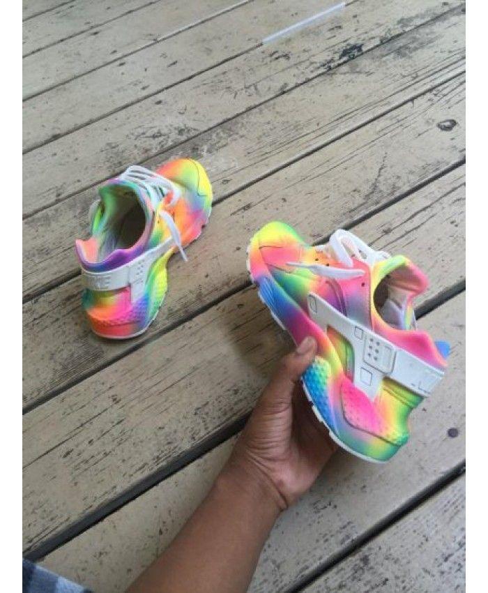 13e4de6229e0a Nike Air Huarache Rainbow Yellow Green Pink Trainer Colorful
