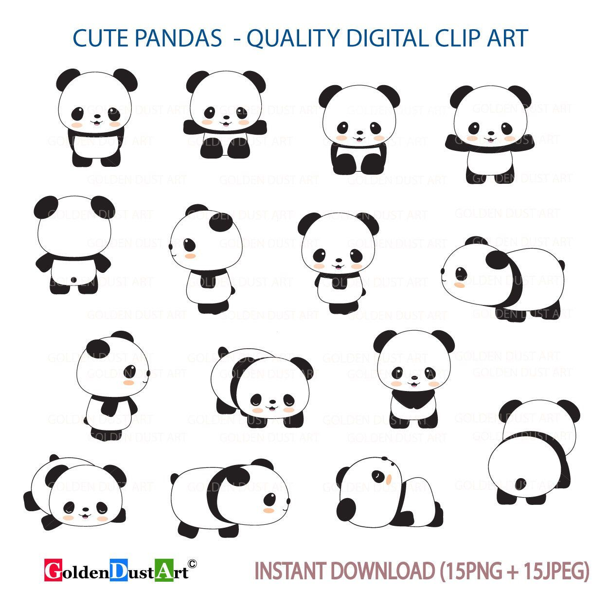 Cute Pandas Clip Art Panda Clip Art Panda Clipart Cute Etsy Cute Panda Drawing Panda Drawing Cute Panda