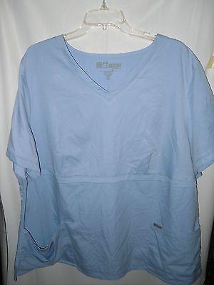 Grey's anatomy SZ 3XL Women's blue scrub top w/draw string pockets on front