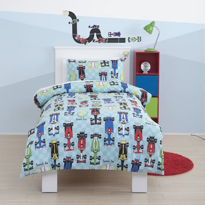 Formula 1 Race Car Boys Single Bedding From The Popular Brand Just Kidding Kids Bed Linen Duvet Bedding Sets Cot Bed Duvet