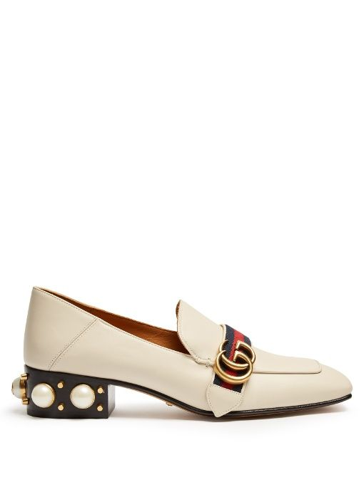 6e6de1742a3 GUCCI Peyton Faux-Pearl Heel Leather Pumps.  gucci  shoes  pumps ...