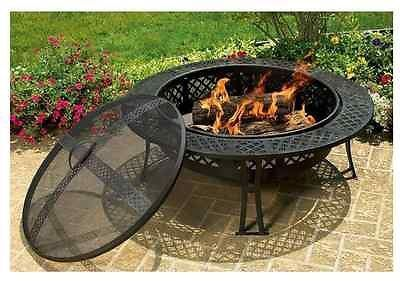Outdoor Mesh Fire Pit Wood Burning Screen Cover Garden Patio Backyard Portable