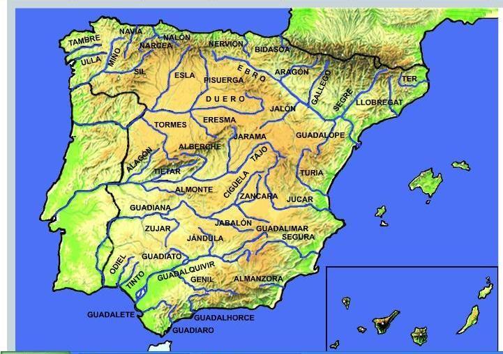 Mapa Fisico Peninsula Iberica Rios.Ficha Para Aprender Los Rios De Espana Mapa Interactivo