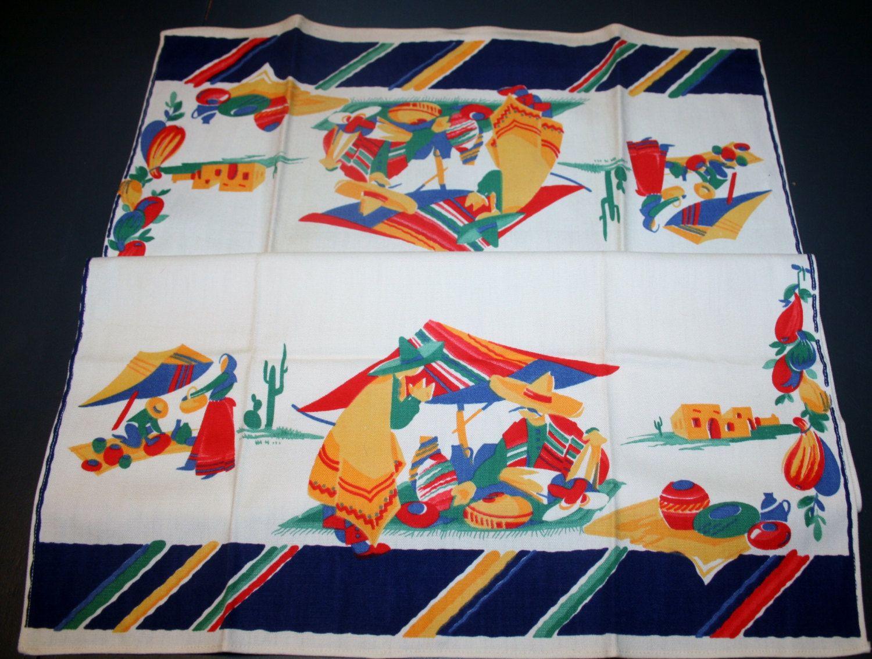 Vintage Wilendur Linen Tea Kitchen Towel Mexico Scene Southwestern Primary Colors Unused by AstridsPastTimes on Etsy