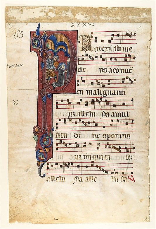 """""""Manuscript Leaf with the Martyrdom of Saint Peter Martyr in an Initial P, from a Gradual  Date:     ca. 1270–80"""