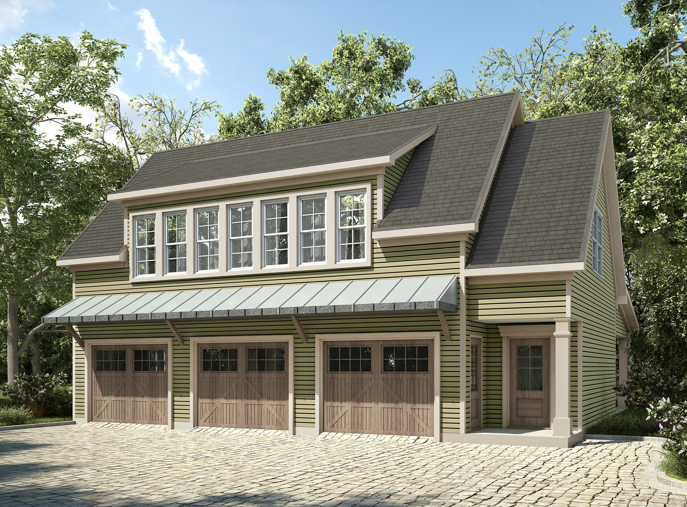 3 Bay Carriage House Plan with Shed