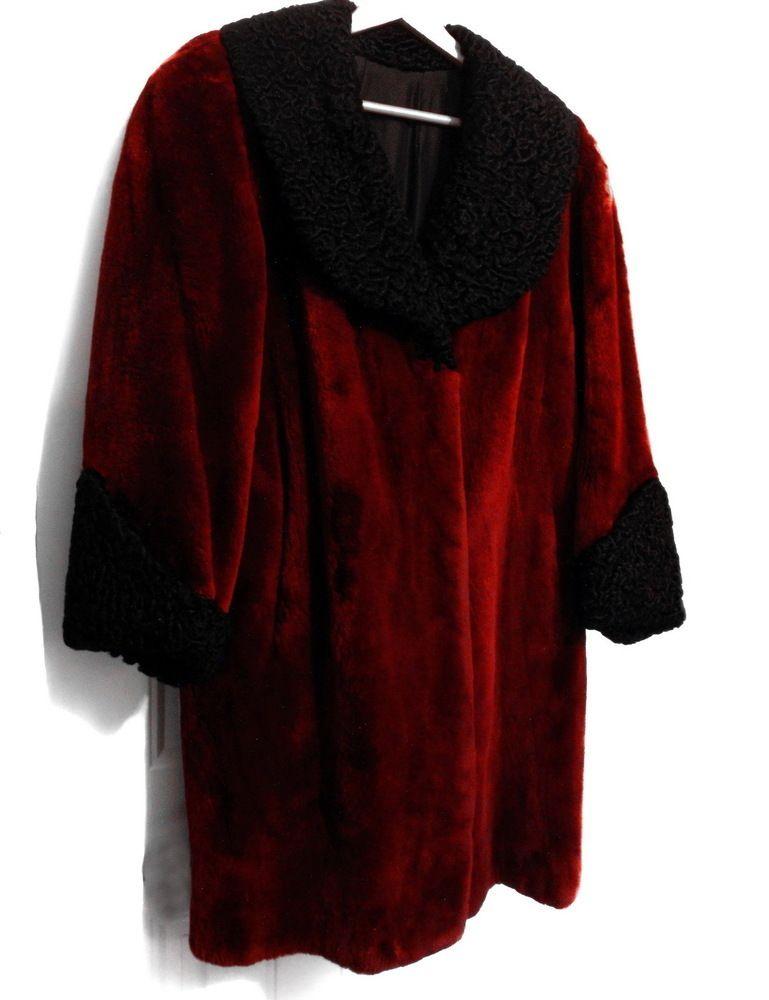 d9d338258 1940s Red Sheared Beaver Persian Lamb Fur Coat | Curly Lamb | Hollywood |  High Fashion