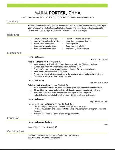Home Health Aide Resume