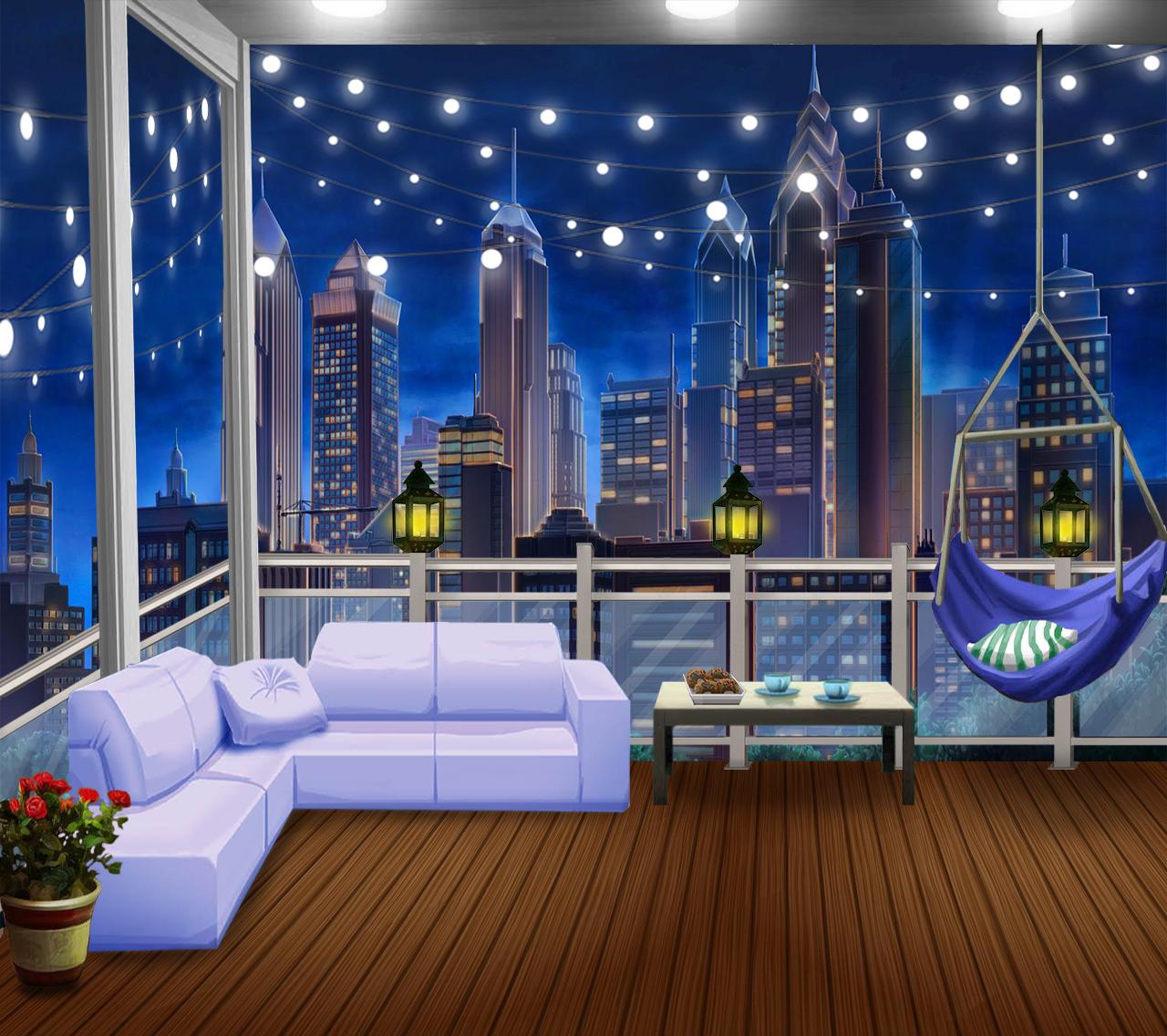 Anime Apartment: #anime Backgrounds #balcony #cozy #EXT #night EXT. COZY