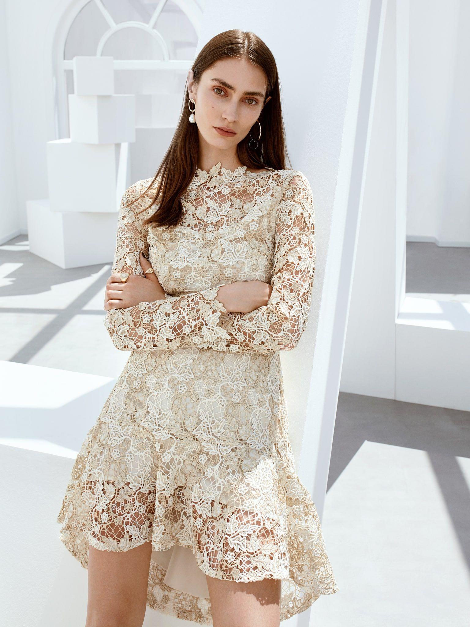 Ekru Etegi Volanli Gupur Elbise Iw6190002158018 Ipekyol Elbise Elbise Modelleri Gomlek Elbise