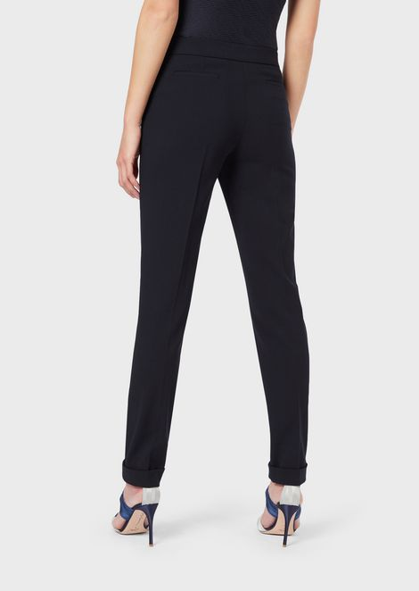 Slim Fit Trousers In Stretch Wool Crepe Woman Giorgio Armani Pantalones Slim Fit Giorgio Armani Pantalones