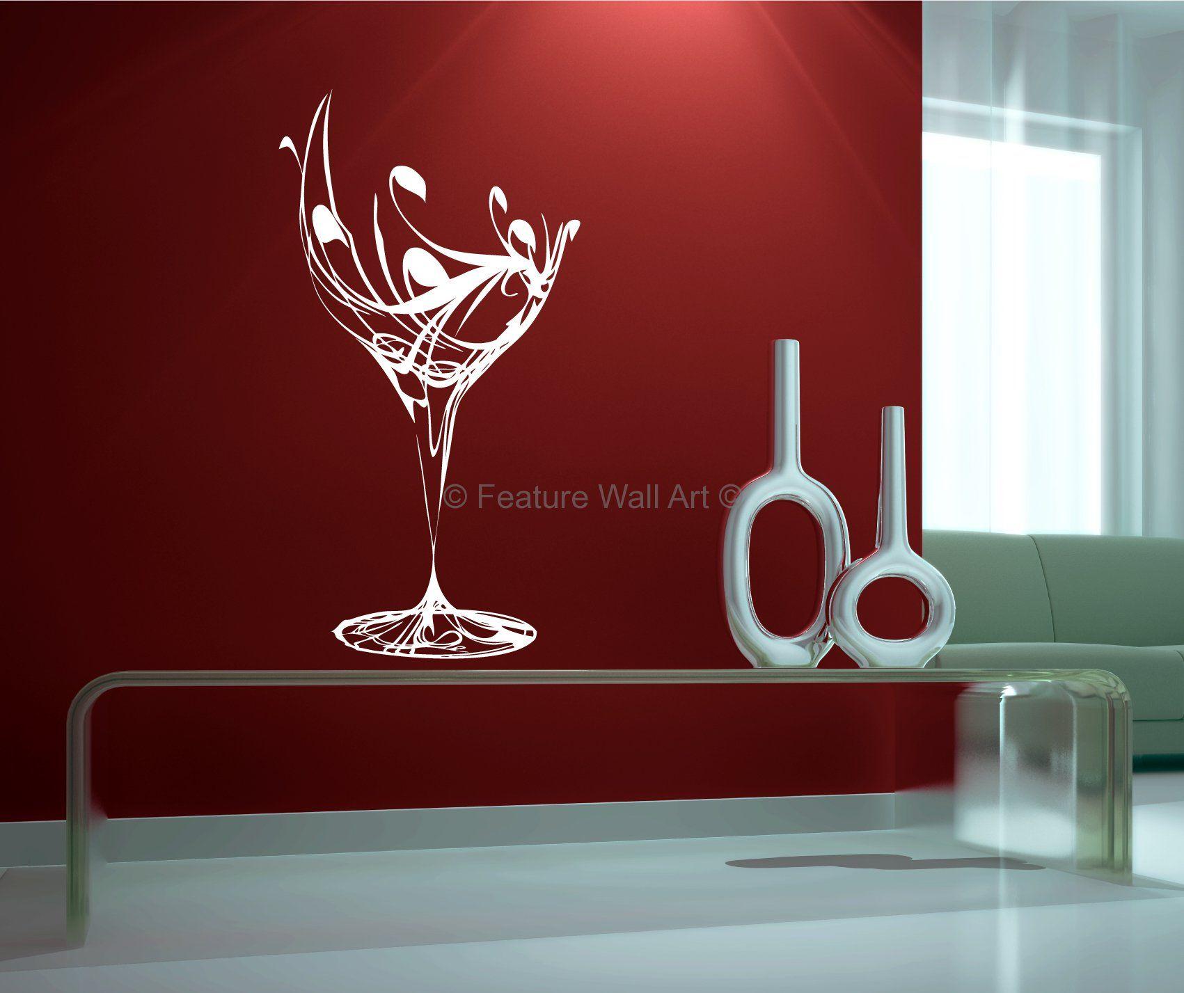 Decorative Glass Art   Decorative Wine Glass - Vinyl Wall ...