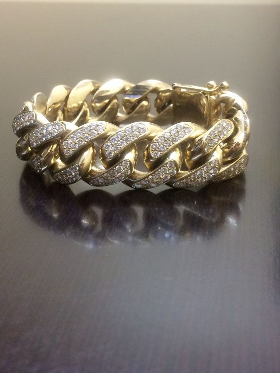 14k Yellow Gold Cuban Link Diamond Bracelet 14k Diamond Etsy Textured Bracelet Gold Link Bracelet Pave Diamond Bracelets