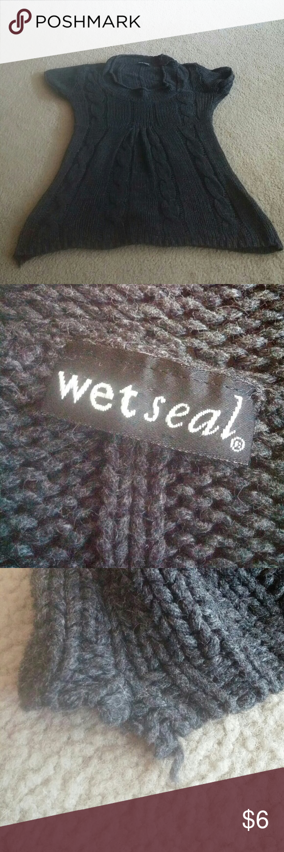 Wet Seal Short Sleeve Gray Sweater No trades! Gently used. Snagging at the bottom right corner and under the right armpit, as pictured. No tag but I believe this is a Junior's Large. This is the final price due to seller fees. Wet Seal Sweaters