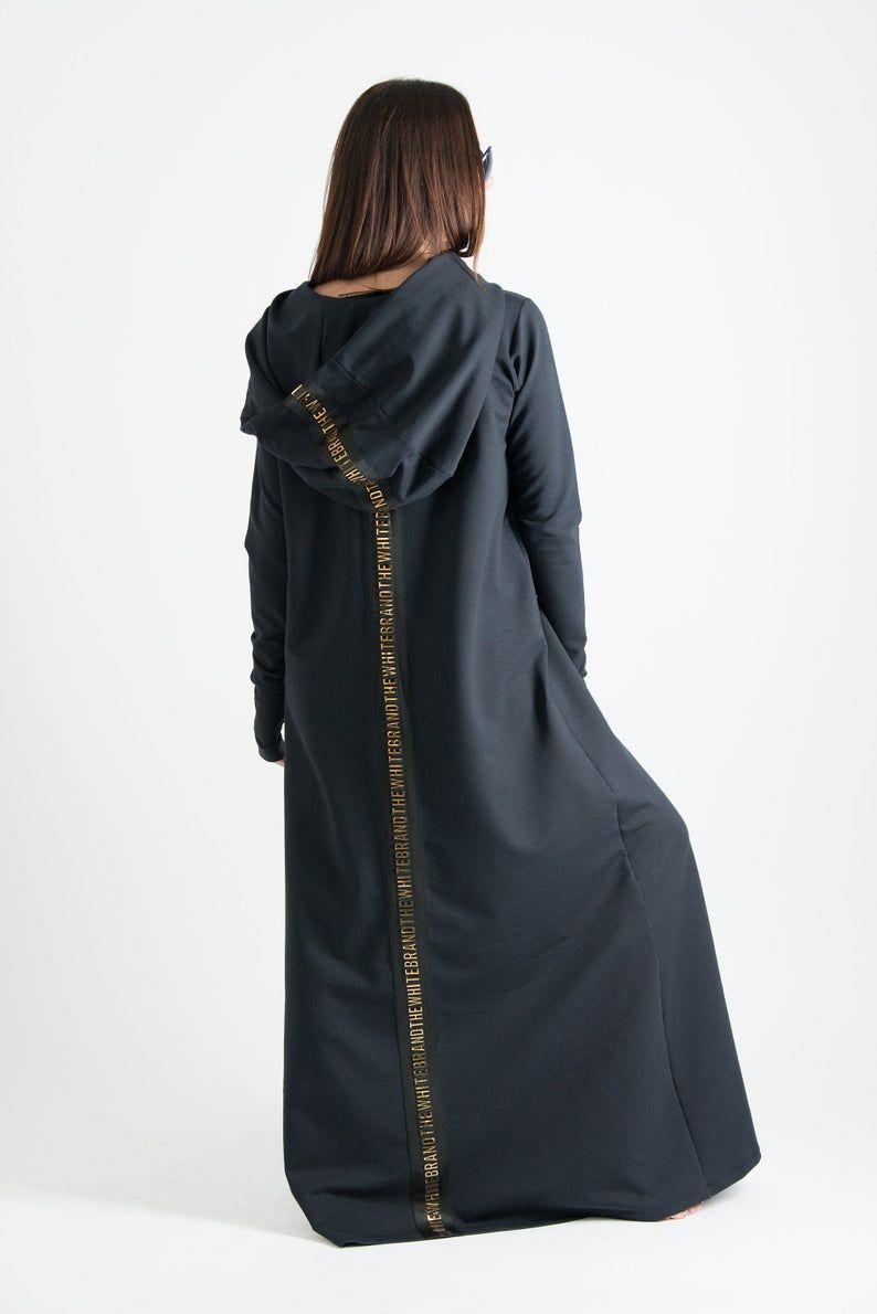 Black dress maxi dress hooded dress cotton dress plus