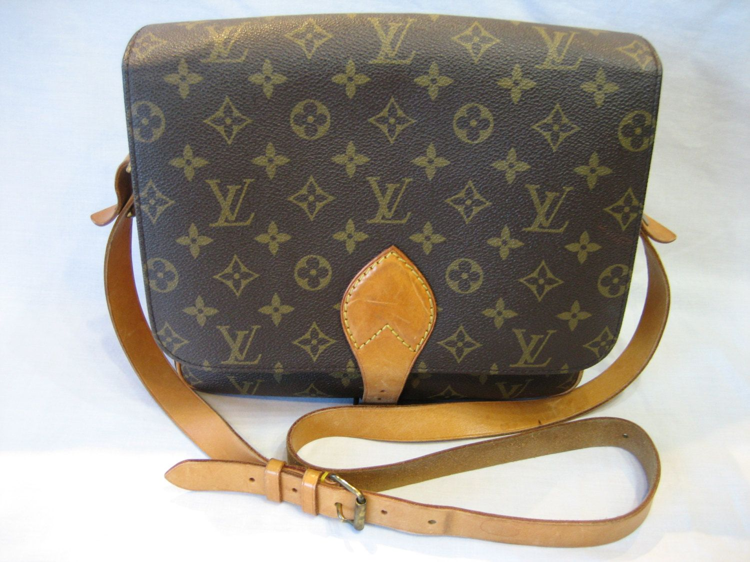 Vintage Louis Vuitton Monogram Cartouchiere Authentic Cross Body Bag by CLASSYBAG on Etsy