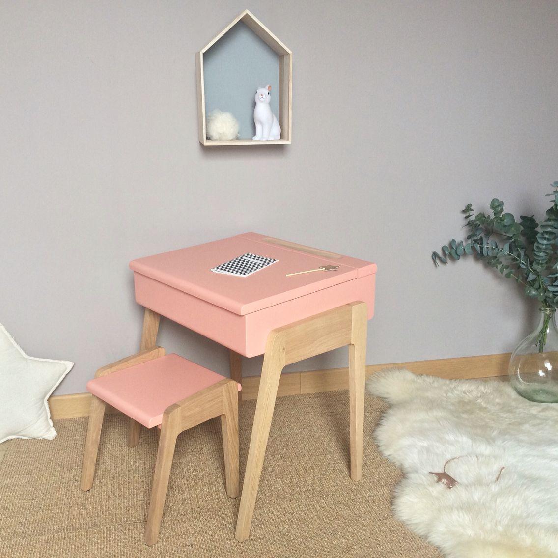 Bureau enfant style pupitre - My Little Pupitre - Rose rétro - Chêne ...