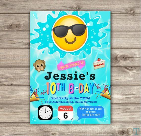 Emoji pool party birthday invitations swim party beach pool party printable digital file pool party splash bash emoji invitations stopboris Gallery