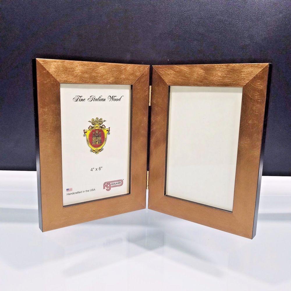 Fg Galassi Double Matrix Frame 4x6 Gold Brushed Italian Wood ...
