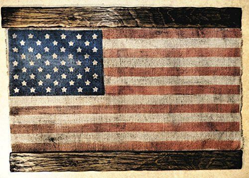 American Flag Weathered Rustic Burlap and Wood One of a kind vintage ...