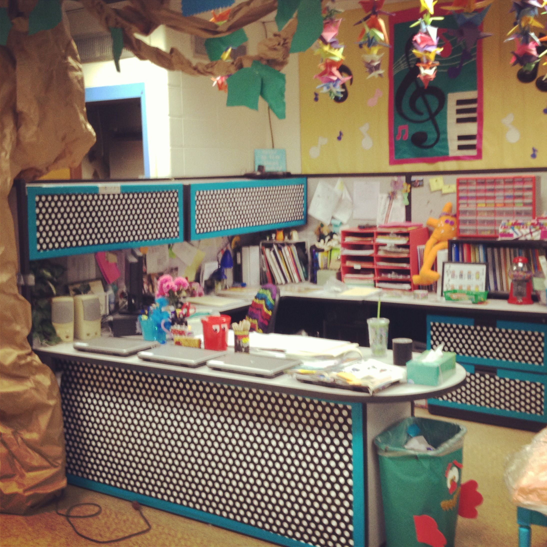 Music Room Teacher Desk Makeover Wrapping Paper And Duck Tape