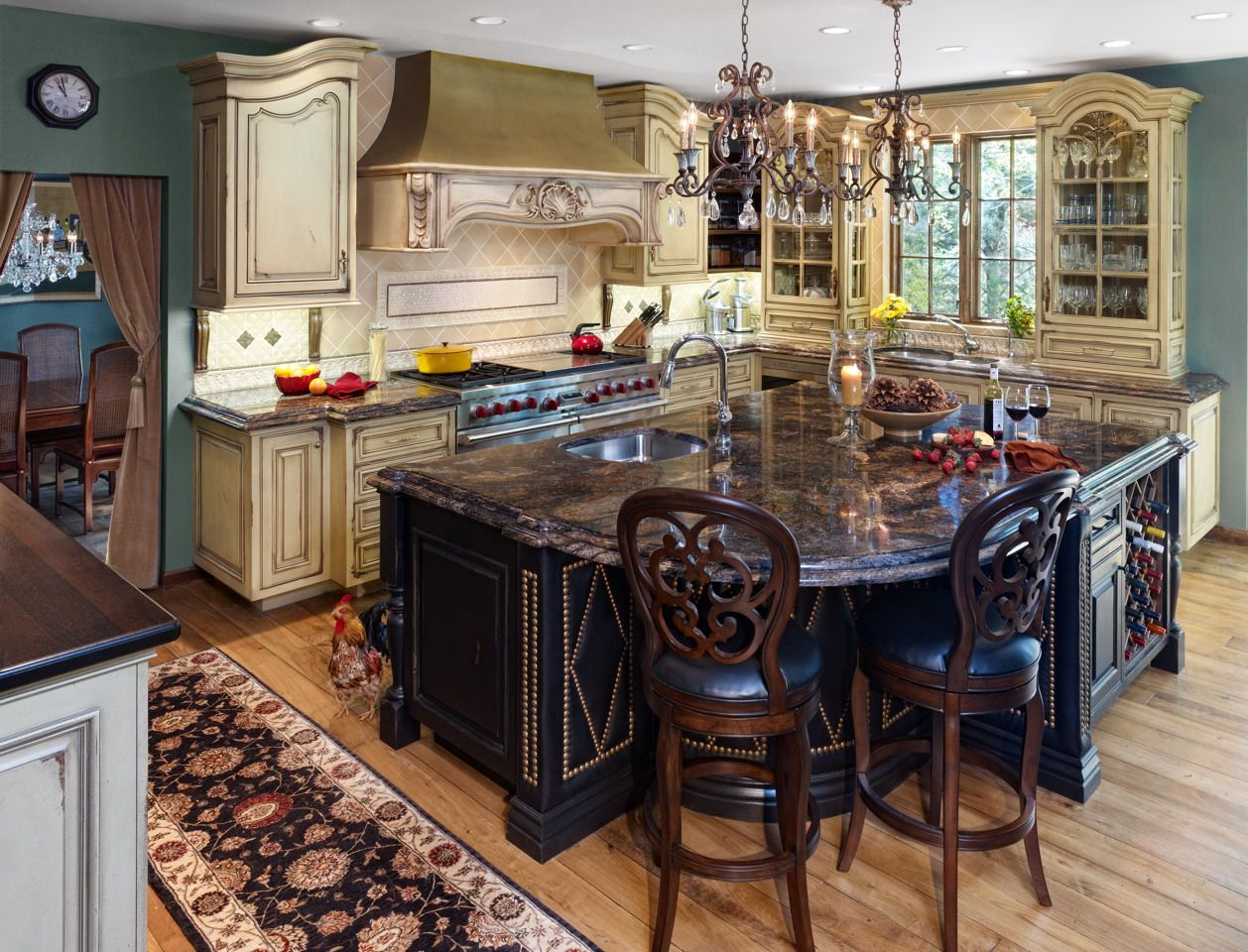 This Is An Old World Kitchen Including A Multitude Of Special Applications Leather Back Splash Somona Tile S Custom Kitchen Cabinets Old World Kitchens Home