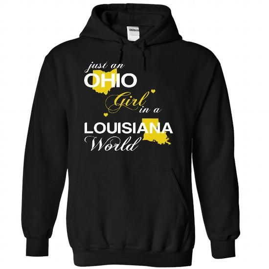 (OHJustVang002) Just An Ohio Girl In A Louisiana World - #graduation gift #inexpensive gift. PRICE CUT => https://www.sunfrog.com/Valentines/-28OHJustVang002-29-Just-An-Ohio-Girl-In-A-Louisiana-World-Black-Hoodie.html?68278