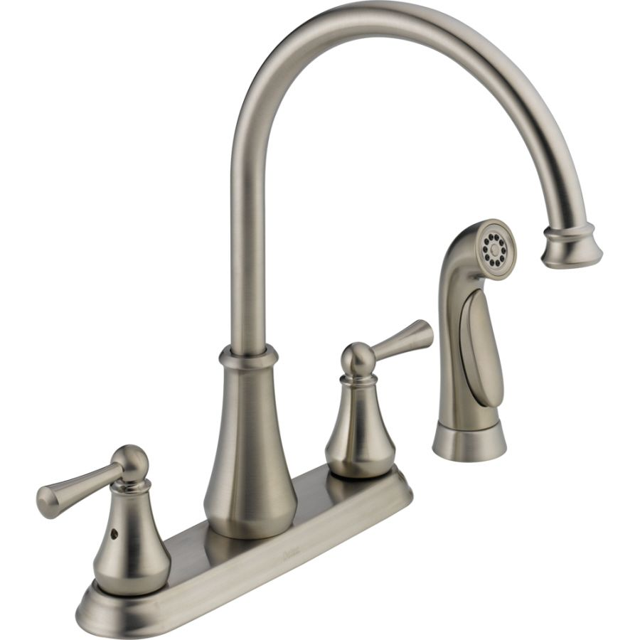 Delta Lewiston Stainless 2 Handle High Arc Kitchen Faucet With