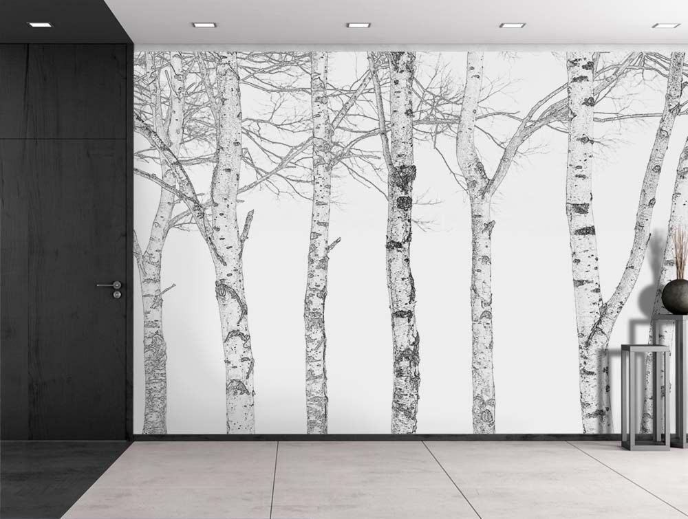 Black And White Outline Of Aspen Trees   Wall Mural, Home Decor   100x144  Inches Part 5